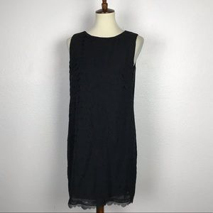 Max Studio Black Sheer Shift Lined Dress